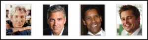 Richard Geer, George Clooney, Denzel Washington and Brad Pitt